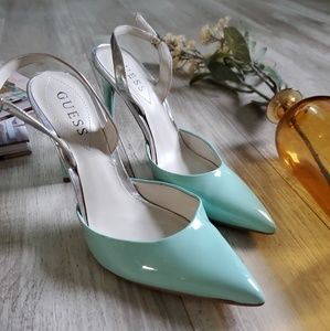 Guess pointed teal and silver heels